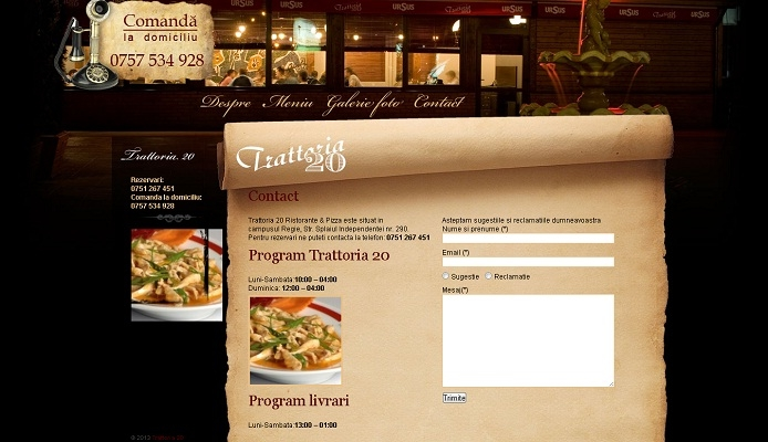 Site de prezentare, pizzerie, restaurant - Trattoria 20 - layout, contact.jpg