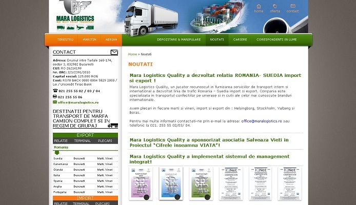Website prezentare, transport terestru, aerian si naval - Mara Logistics - layout site, noutati.jpg